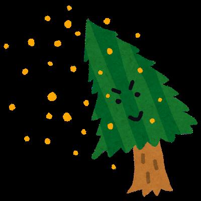 杉と花粉のイラスト